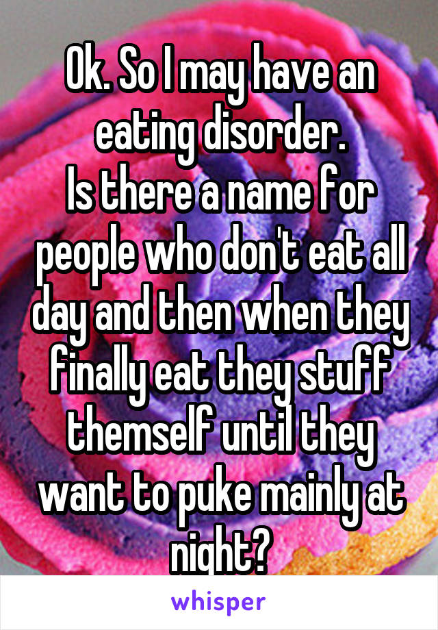 Ok. So I may have an eating disorder. Is there a name for people who don't eat all day and then when they finally eat they stuff themself until they want to puke mainly at night?