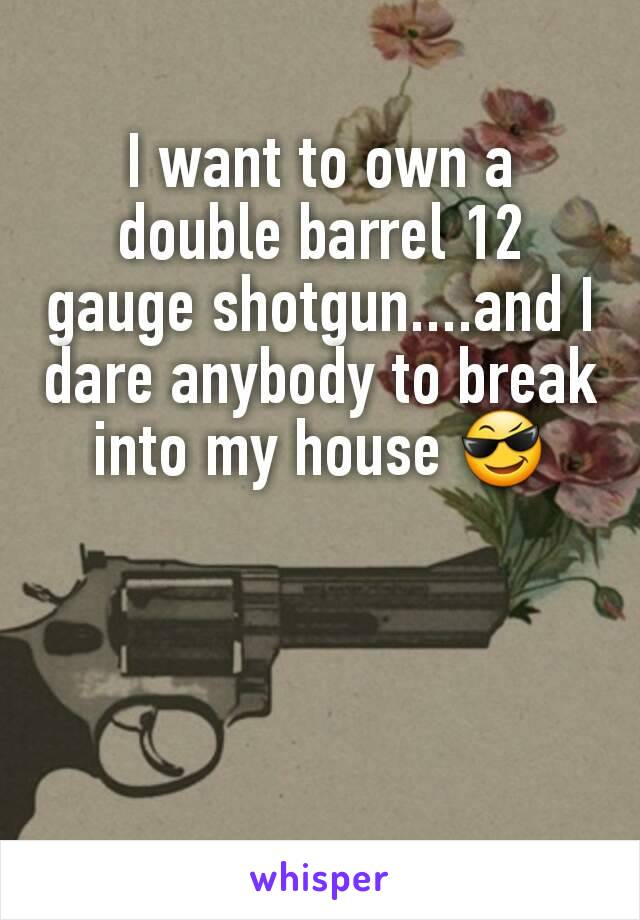 I want to own a double barrel 12 gauge shotgun....and I dare anybody to break into my house 😎