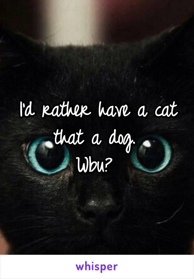 I'd rather have a cat that a dog.  Wbu?