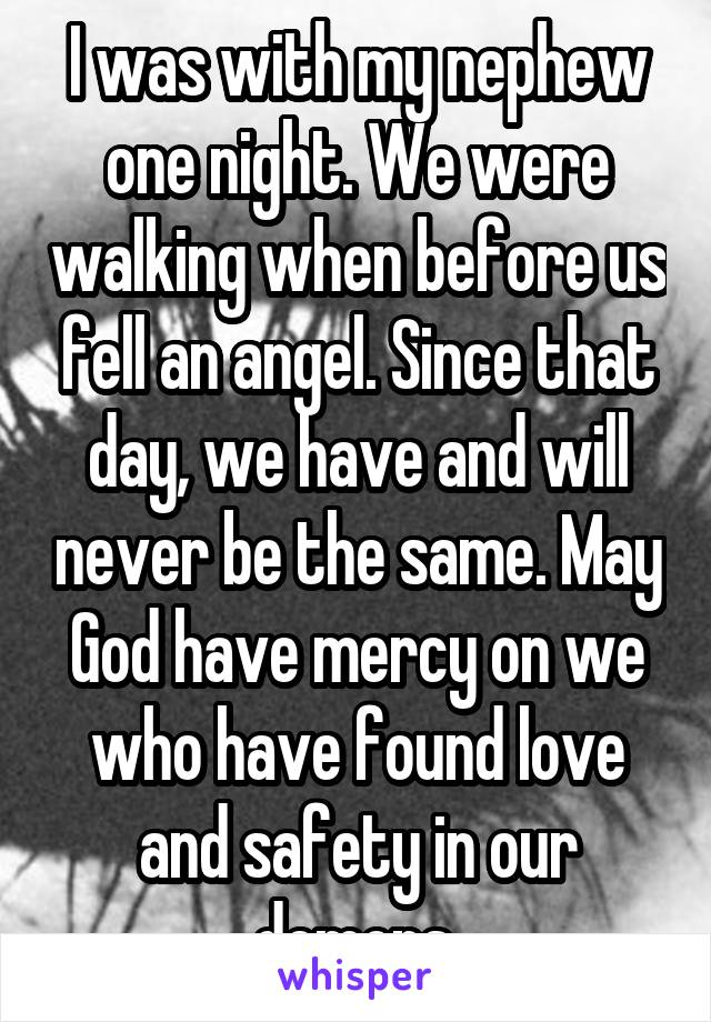 I was with my nephew one night. We were walking when before us fell an angel. Since that day, we have and will never be the same. May God have mercy on we who have found love and safety in our demons.