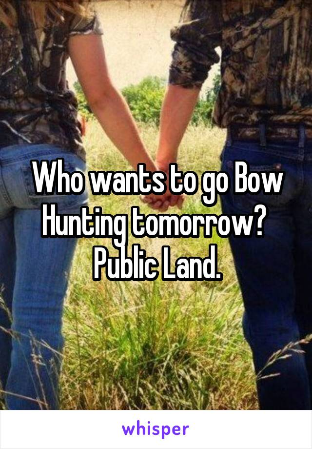 Who wants to go Bow Hunting tomorrow?  Public Land.