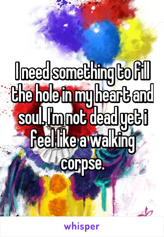 I need something to fill the hole in my heart and soul. I'm not dead yet i feel like a walking corpse.