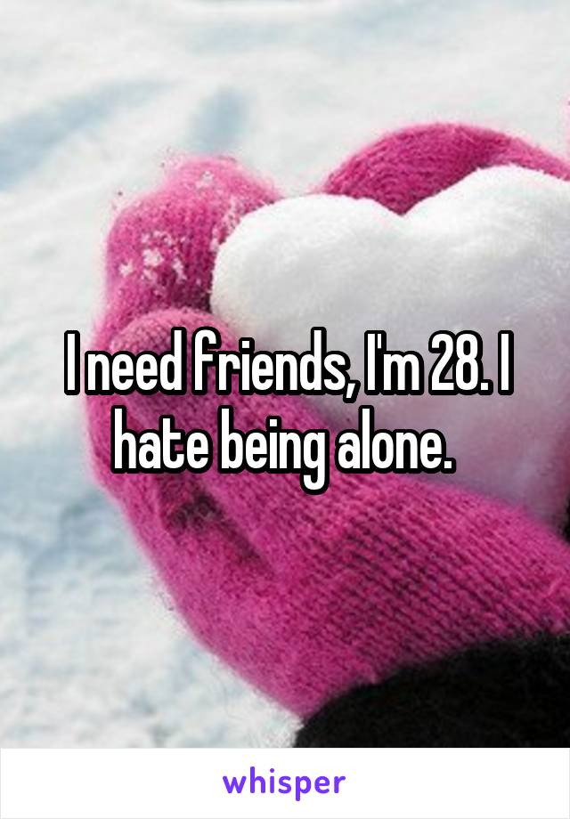 I need friends, I'm 28. I hate being alone.