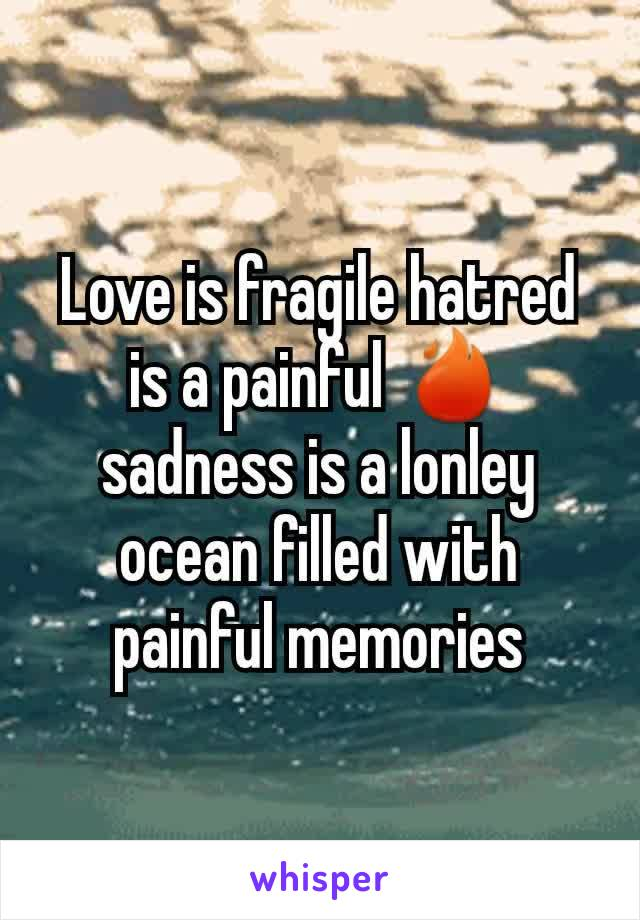 Love is fragile hatred is a painful 🔥 sadness is a lonley ocean filled with painful memories