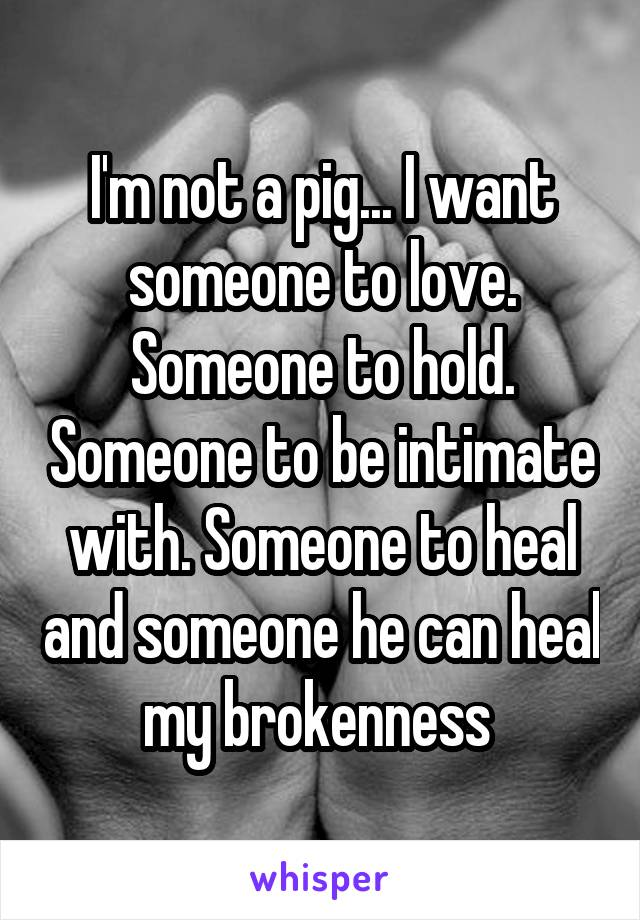 I'm not a pig... I want someone to love. Someone to hold. Someone to be intimate with. Someone to heal and someone he can heal my brokenness
