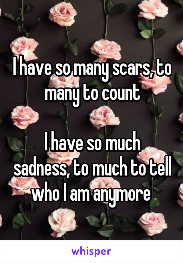 I have so many scars, to many to count  I have so much sadness, to much to tell who I am anymore