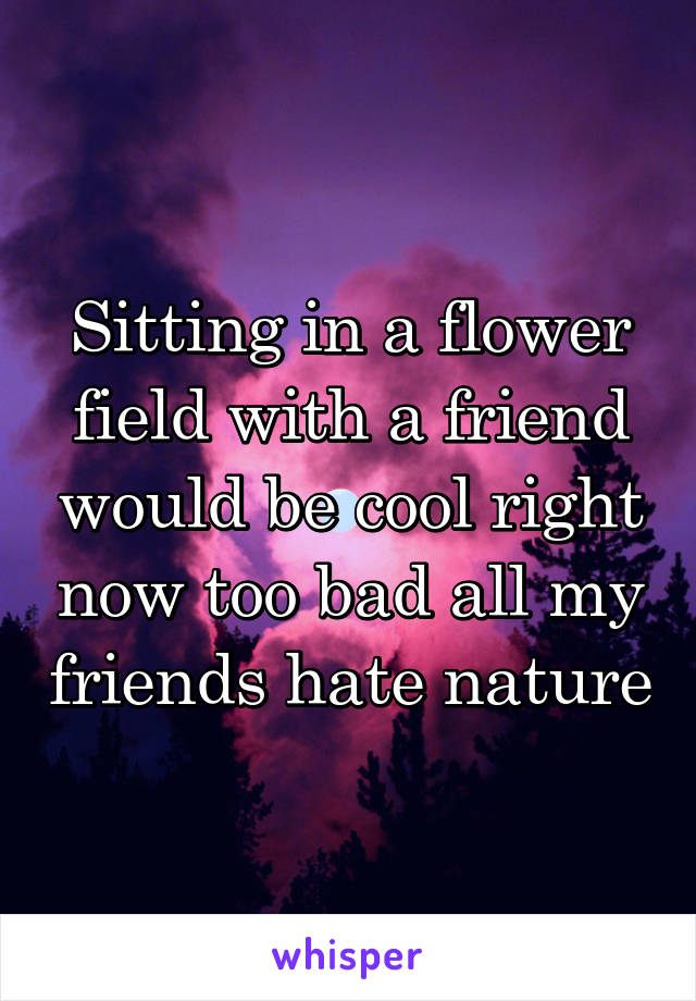 Sitting in a flower field with a friend would be cool right now too bad all my friends hate nature
