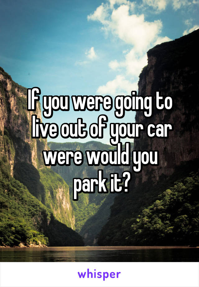 If you were going to  live out of your car were would you  park it?