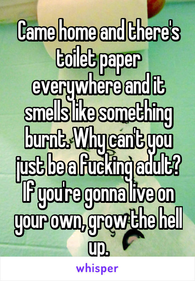 Came home and there's toilet paper everywhere and it smells like something burnt. Why can't you just be a fucking adult? If you're gonna live on your own, grow the hell up.