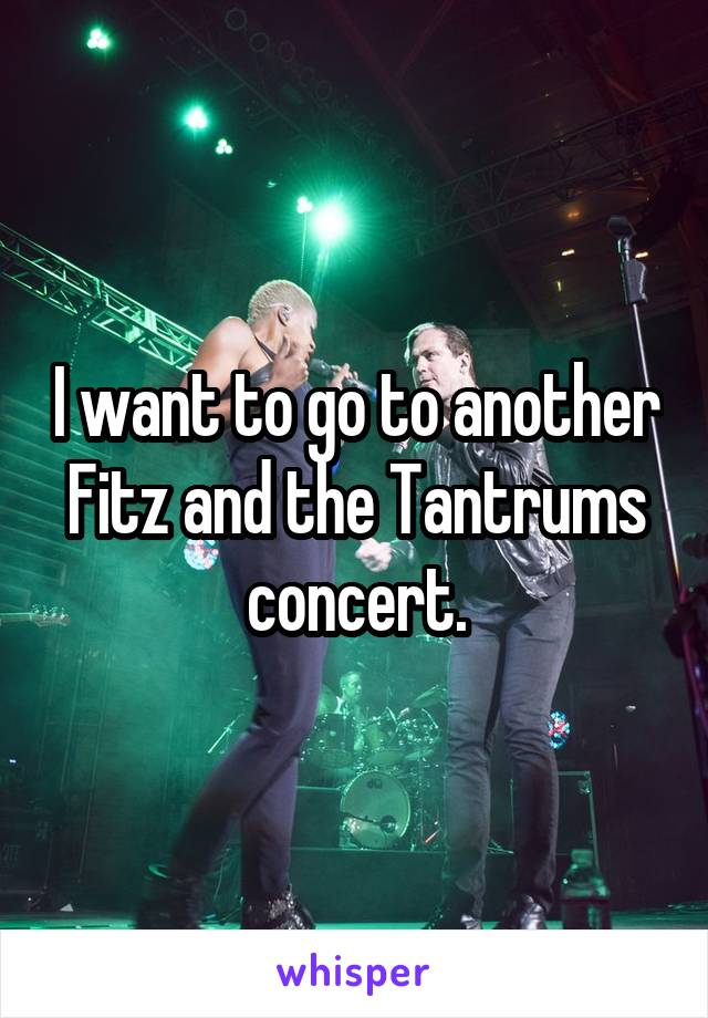 I want to go to another Fitz and the Tantrums concert.