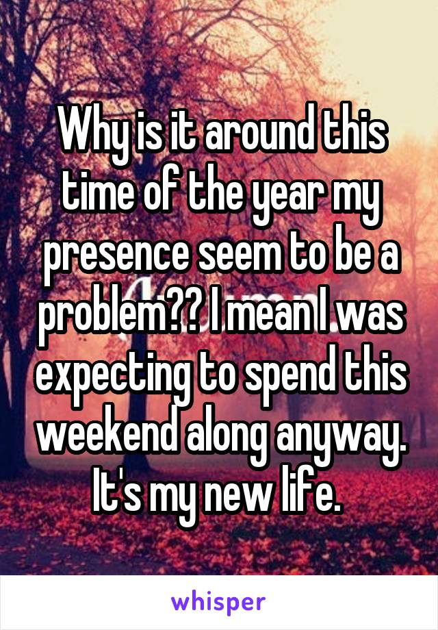 Why is it around this time of the year my presence seem to be a problem?? I mean I was expecting to spend this weekend along anyway. It's my new life.