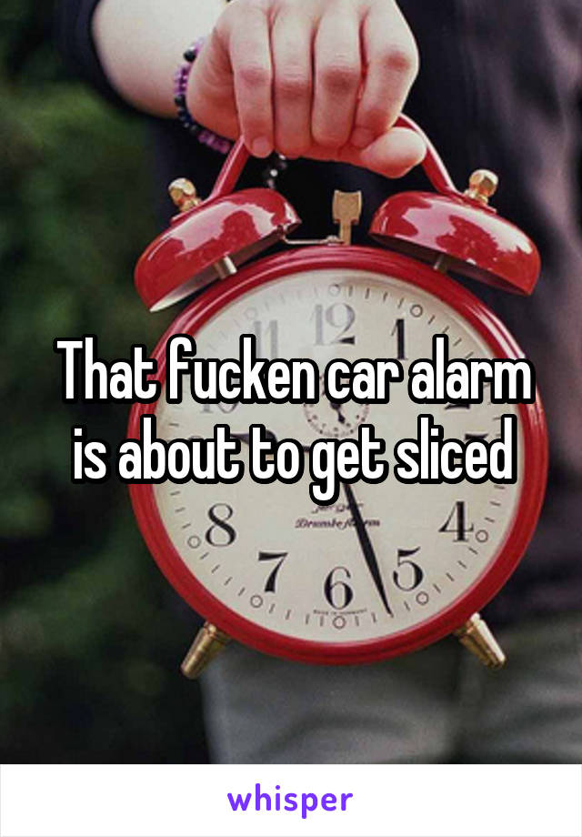 That fucken car alarm is about to get sliced