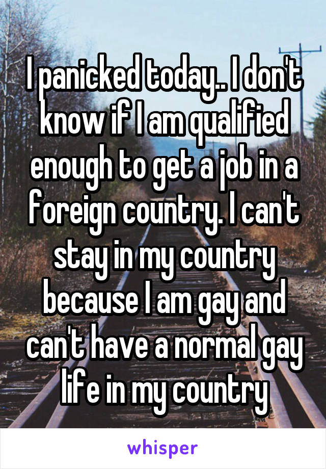 I panicked today.. I don't know if I am qualified enough to get a job in a foreign country. I can't stay in my country because I am gay and can't have a normal gay life in my country