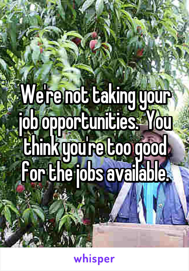 We're not taking your job opportunities.  You think you're too good for the jobs available.