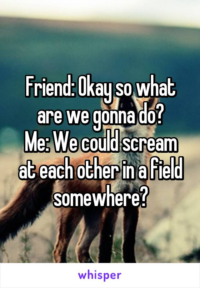 Friend: Okay so what are we gonna do? Me: We could scream at each other in a field somewhere?