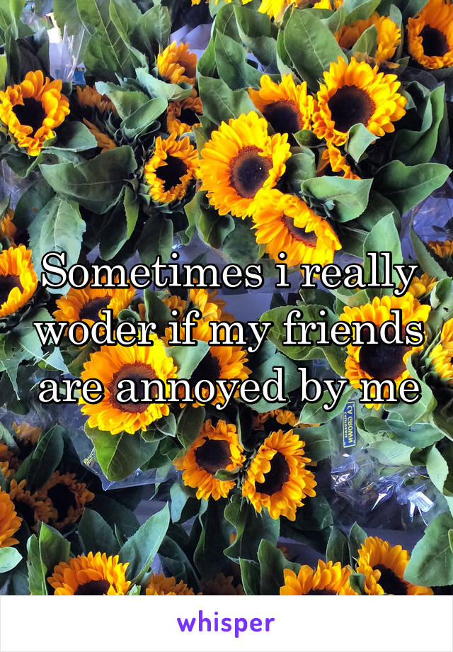Sometimes i really woder if my friends are annoyed by me