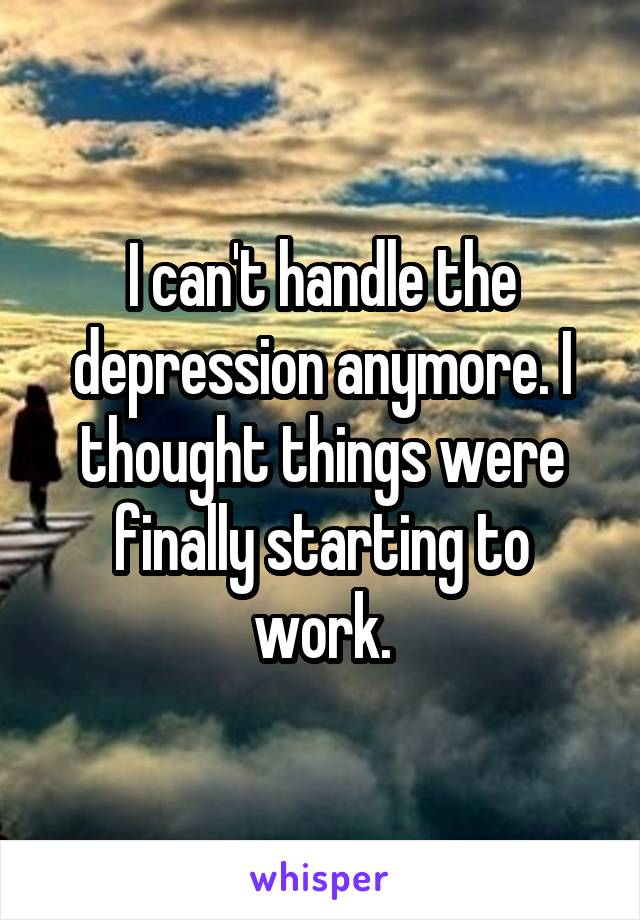 I can't handle the depression anymore. I thought things were finally starting to work.