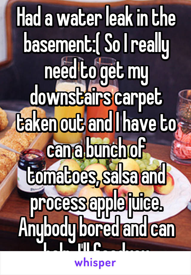 Had a water leak in the basement:( So I really need to get my downstairs carpet taken out and I have to can a bunch of tomatoes, salsa and process apple juice. Anybody bored and can help. I'll feedyou
