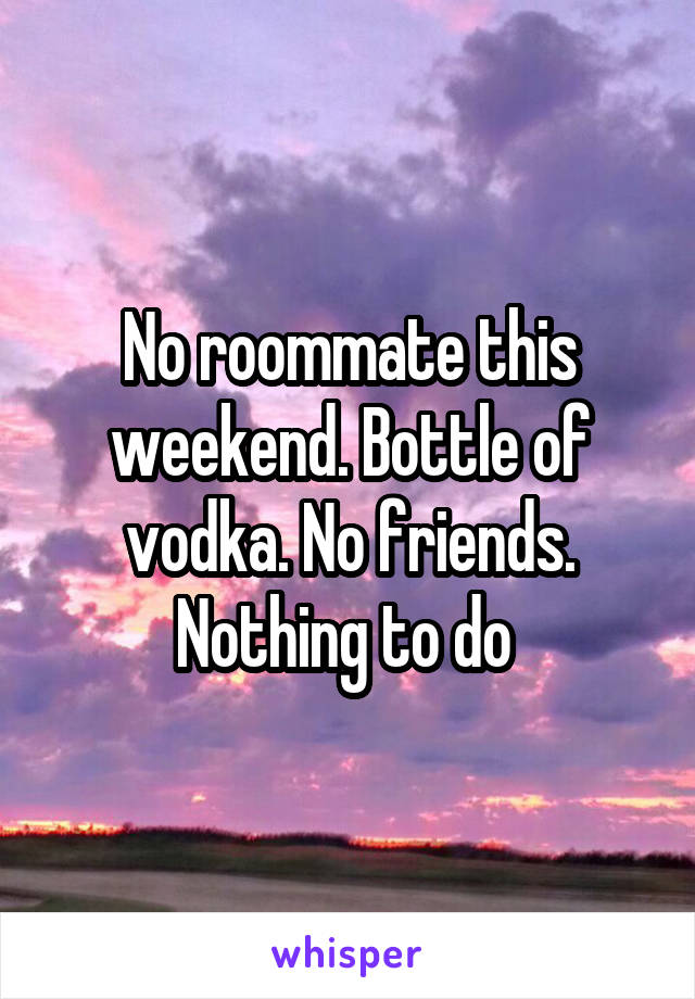 No roommate this weekend. Bottle of vodka. No friends. Nothing to do