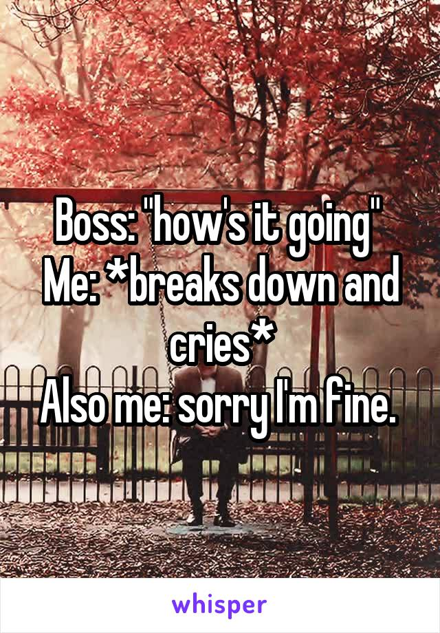"Boss: ""how's it going""  Me: *breaks down and cries* Also me: sorry I'm fine."