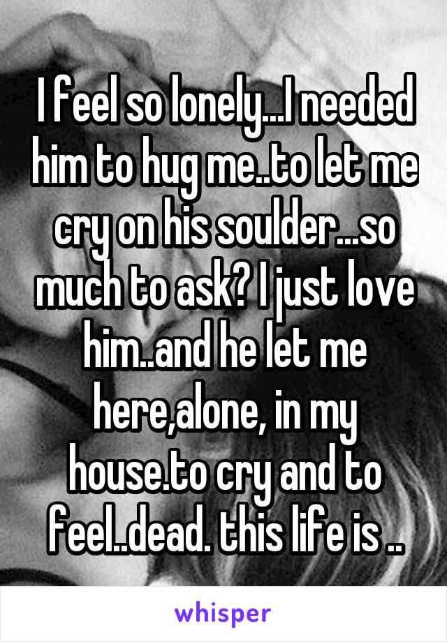 I feel so lonely...I needed him to hug me..to let me cry on his soulder...so much to ask? I just love him..and he let me here,alone, in my house.to cry and to feel..dead. this life is ..