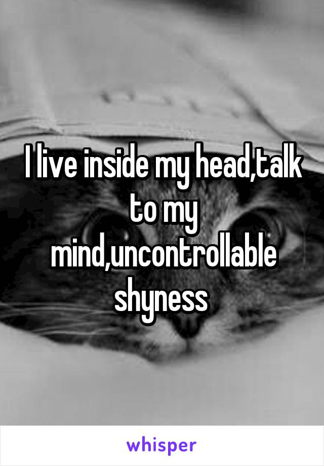 I live inside my head,talk to my mind,uncontrollable shyness