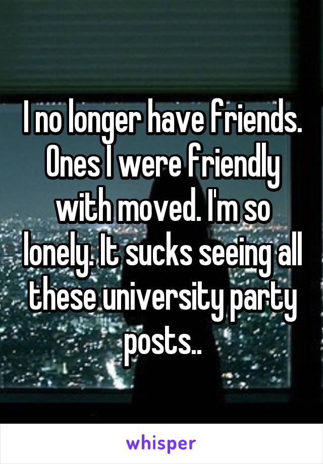 I no longer have friends. Ones I were friendly with moved. I'm so lonely. It sucks seeing all these university party posts..