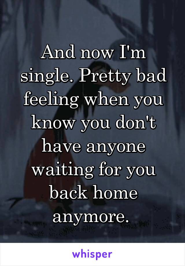 And now I'm single. Pretty bad feeling when you know you don't have anyone waiting for you back home anymore.