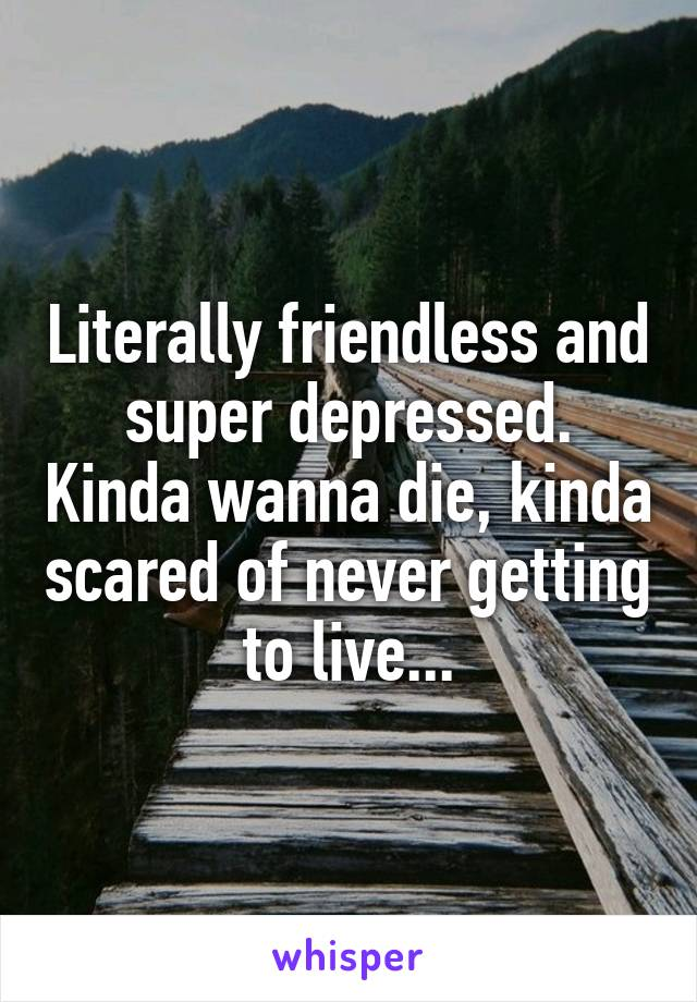 Literally friendless and super depressed. Kinda wanna die, kinda scared of never getting to live...