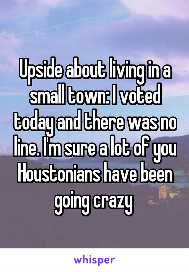 Upside about living in a small town: I voted today and there was no line. I'm sure a lot of you Houstonians have been going crazy