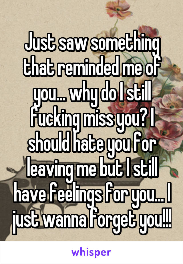 Just saw something that reminded me of you... why do I still fucking miss you? I should hate you for leaving me but I still have feelings for you... I just wanna forget you!!!