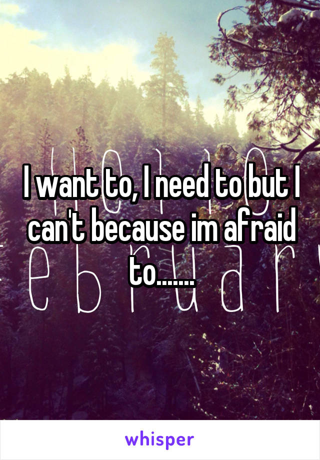 I want to, I need to but I can't because im afraid to.......