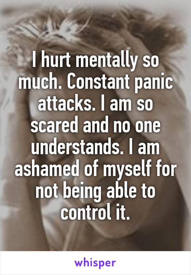 I hurt mentally so much. Constant panic attacks. I am so scared and no one understands. I am ashamed of myself for not being able to control it.