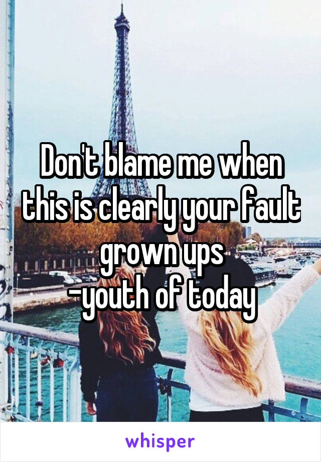 Don't blame me when this is clearly your fault grown ups -youth of today