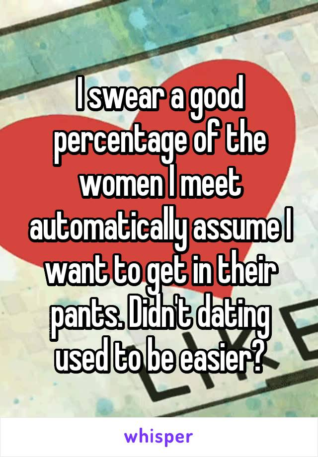 I swear a good percentage of the women I meet automatically assume I want to get in their pants. Didn't dating used to be easier?