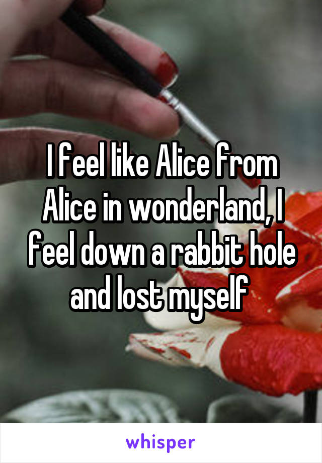 I feel like Alice from Alice in wonderland, I feel down a rabbit hole and lost myself
