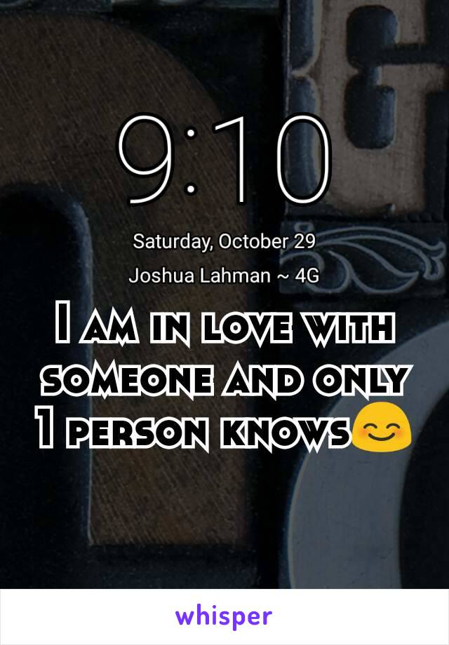 I am in love with someone and only 1 person knows😊