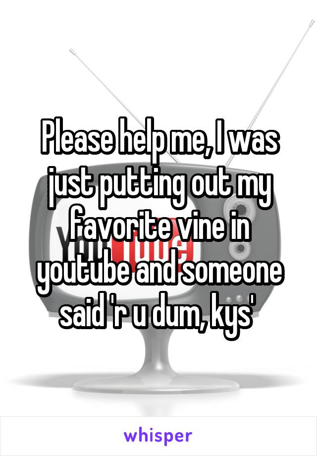 Please help me, I was just putting out my favorite vine in youtube and someone said 'r u dum, kys'