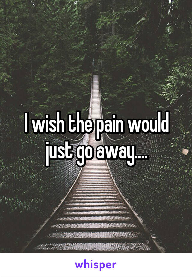 I wish the pain would just go away....