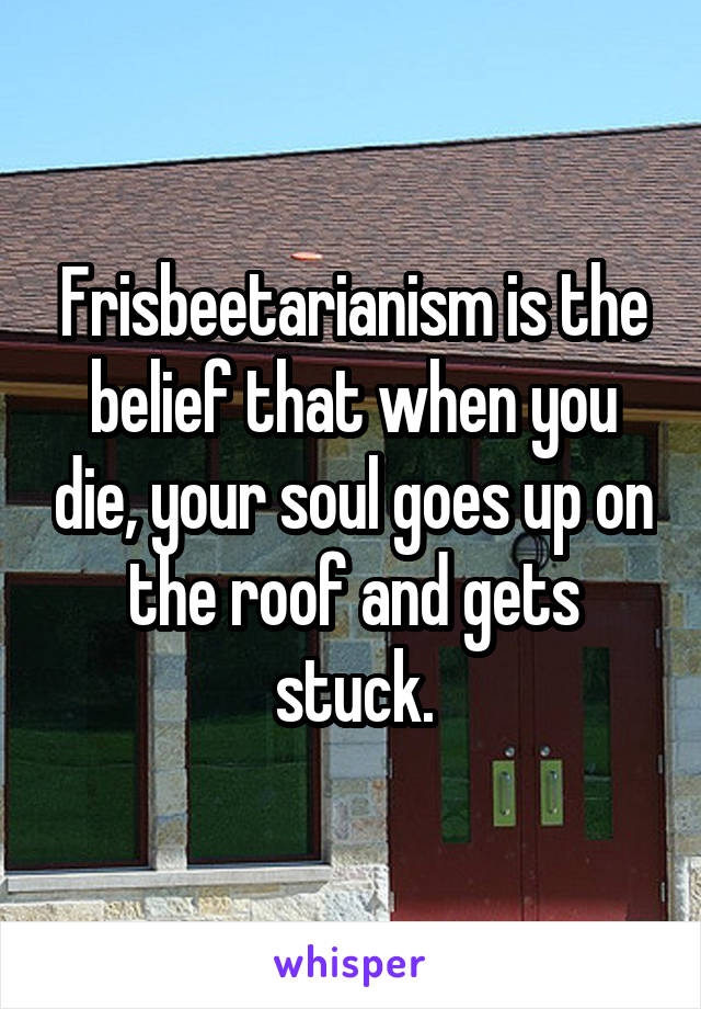 Frisbeetarianism is the belief that when you die, your soul goes up on the roof and gets stuck.