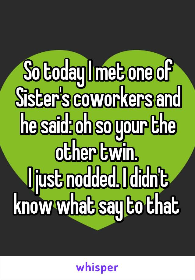 So today I met one of Sister's coworkers and he said: oh so your the other twin.  I just nodded. I didn't know what say to that