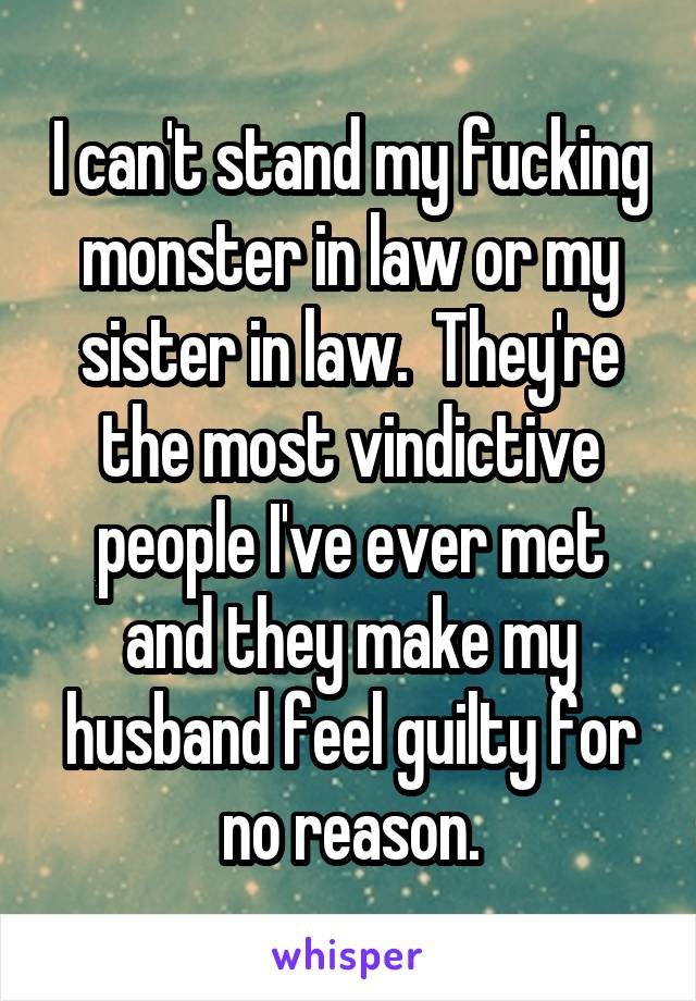 I can't stand my fucking monster in law or my sister in law.  They're the most vindictive people I've ever met and they make my husband feel guilty for no reason.