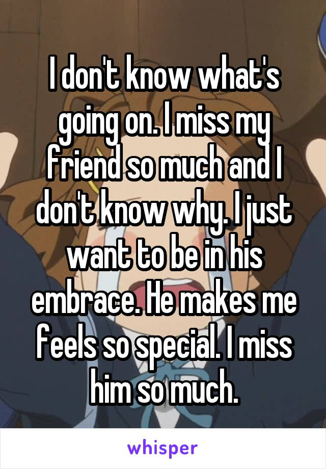 I don't know what's going on. I miss my friend so much and I don't know why. I just want to be in his embrace. He makes me feels so special. I miss him so much.
