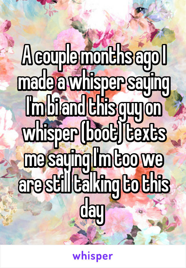 A couple months ago I made a whisper saying I'm bi and this guy on whisper (boot) texts me saying I'm too we are still talking to this day