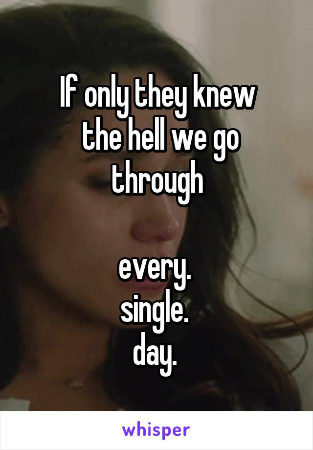 If only they knew  the hell we go through  every.  single.  day.