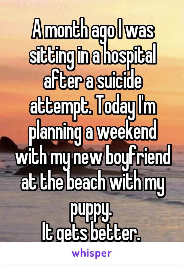 A month ago I was sitting in a hospital after a suicide attempt. Today I'm planning a weekend with my new boyfriend at the beach with my puppy.  It gets better.