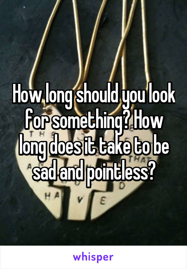How long should you look for something? How long does it take to be sad and pointless?