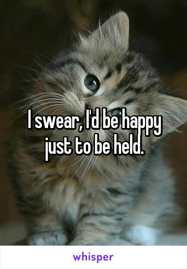 I swear, I'd be happy just to be held.