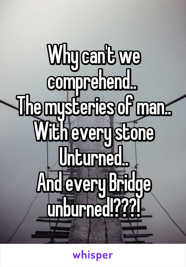 Why can't we comprehend..  The mysteries of man.. With every stone Unturned.. And every Bridge unburned!???!