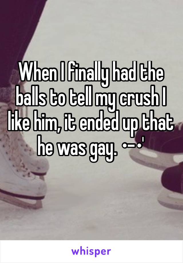 When I finally had the balls to tell my crush I like him, it ended up that he was gay. •-•'